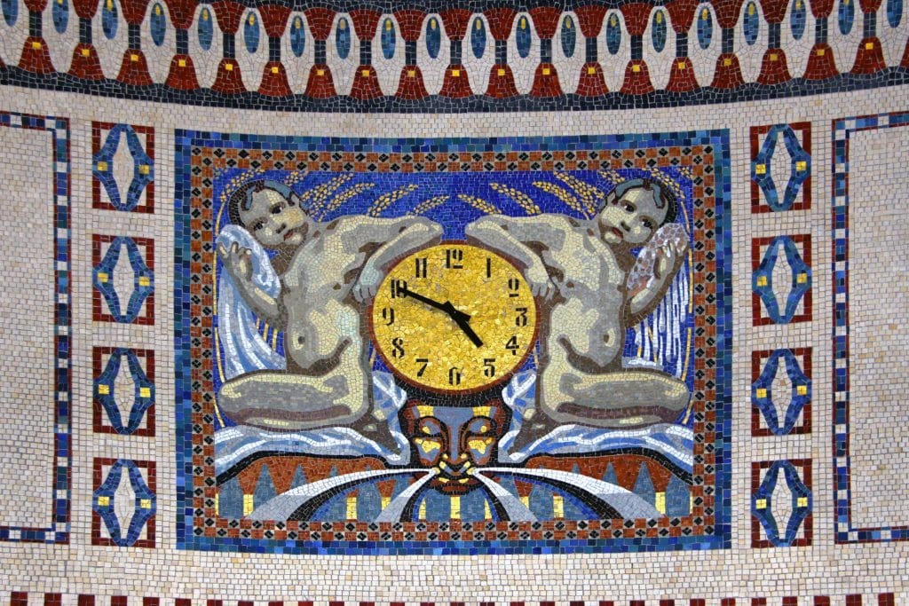 Mosaik, Uhr Wartesaal Badehaus 3 Sprudelhof Bad Nauheim